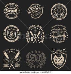 742d7ca6f Sport Typography Graphics emblem set, T-shirt Printing Design. Athletic  original wear, Vintage Print for sportswear apparel