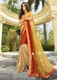 IVimal Evoking Orange Colored Embroidered Georgette Brasso Festive Saree - 97063