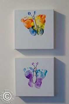 HAVE TO MAKE THESE! Want to get a huge mounted canvas & make feet butterflies alllll over it!