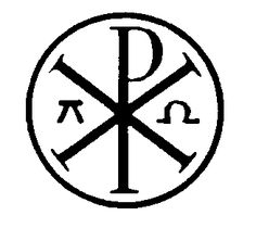 """""""Chi-Rho"""" or """"sigla"""": the letters """"X"""" and """"P,"""" representing the first letters of the title """"Christos,"""" were eventually put together to form this symbol for Christ (""""Chi"""" is pronounced """"Kie""""). It is this form of the Cross that the Emperor of Byzantia Constantine saw in his vision along with the Greek words, TOUTO NIKA, and which mean """"in this sign thou shalt conquer."""