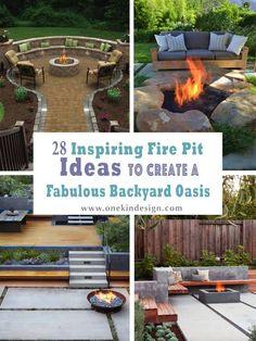 28 Inspiring Fire Pit Ideas To Create A Fabulous Backyard Oasis 28 Inspiring Fire Pit Ideas To Creat Garden Fire Pit, Fire Pit Backyard, Backyard Patio, Garden Paths, Garden Wallpaper, Fire Pit Landscaping, Landscaping Ideas, Outside Fire Pits, Concrete Fire Pits