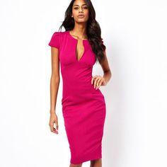 Summer Charming Sexy Pencil Dress Celebrity Style Fashion Pockets Knee-length Bodycon Slim Business Sheath Party Dress E521