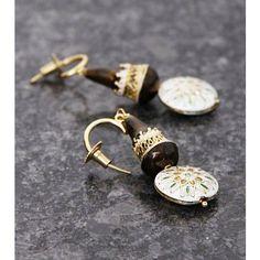 Brown & White Embellished Earrings