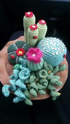 Cactus - inspiration only - no pattern Crochet Cactus, Crochet Fabric, Crochet Food, Freeform Crochet, Crochet Gifts, Cute Crochet, Crochet Motif, Amigurumi Patterns, Knitting Patterns