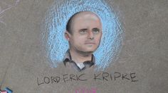 """Kripke!! Item 83. Immortalize one of the writers or producers of """"Supernatural"""" with a stately portrait done in sidewalk chalk art."""