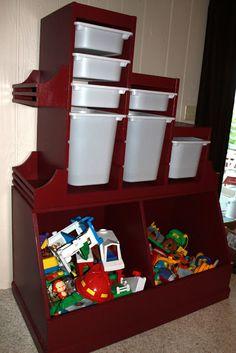 Ikea Trofast storage unit w/ bookshelves over DIY toy box