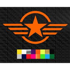 Military star and stripes in circle stickers in custom colors and sizes
