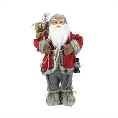 """24"""""""" Alaskan Arctic Standing Santa Claus Christmas Figure with Lantern and Gift Bag"""