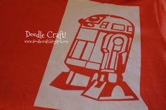stenciled freezer paper iron on r2d2 star wars shirt for boys crafts