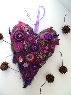 Purple heart V large fiber art ornament by Cesart64 on Etsy, $59.00
