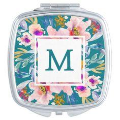 #trendy - #Modern Monogram Watercolor Floral Compact Mirror