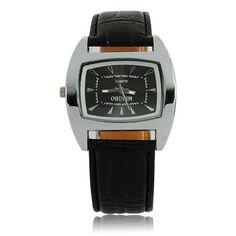 Square Leather Band Mens Fashion Wrist Watch (Black) Square Leather Band Mens Fashion Wrist Watch (Black) [51267] - US$5.56 : Aladdinmart