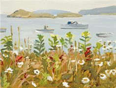 Fairfield Porter (1907-1975), Daisies and Harbor Boats, 1965.