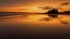 Bamburgh Beach in Northumberland, England.