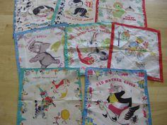 Vintage children's hankies.... Little Golden Books... The Pokey Little Puppy, Shy Little Kitten, Saggy Baggy Elephant and more ....