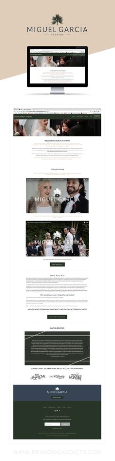 Fresh from the Studio // Branding and Logo Bundle for Miguel Garcia Studios. Palm Beach meets stunning coastal retreat. Miguel Garcia Studios is one of the top cinematography studios in all of Palm Springs. Blue. Forest Green. Charcoal Grey. Palm Trees. Fashion. Masculine Style. Wedding Videographer. Web Design. Motion Graphics. Professional Business Branding by Designer Laine Napoli. Web Design, Logo, Mood Board, Brand Boards, and more.