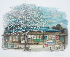 South Korean artist Lee Me Kyeoung unveils a series of illustrations in acrylic ink. His drawings represent local shops. Art Gallery, Illustration, Drawings, Korean Art, Korean Artist, Anime Scenery, Art, Pictures, Scenery