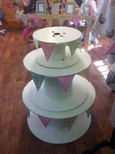 3 tier Wooden cable drums, Ideal retail display, or craft fair prop.