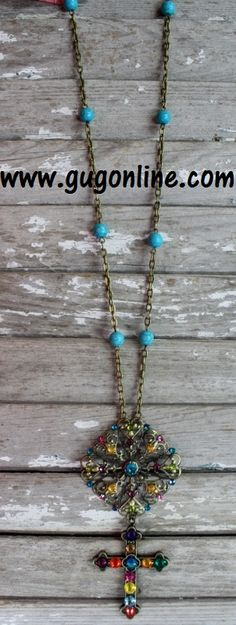 Long Strand of Gold Necklace with Dangle Multi Cross www.gugonline.com $44.95