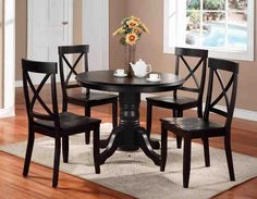 Cheap Home Styles Round Pedestal Dining Table, Black Finish Black Round Dining Table, Round Pedestal Dining Table, Black Dining Room Chairs, Solid Wood Dining Set, Dining Table In Kitchen, Dining Table Chairs, A Table, Round Kitchen, Side Chairs