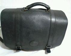 Vintage Eddie Bauer Black Leather Briefcase Laptop Shoulder Bag #EddieBauer…