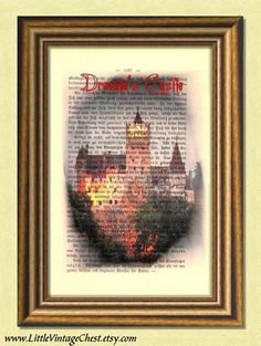 Black Friday! Buy 1 Get 2! - DRACULA'S CASTLE  Dictionary art print  by littlevintagechest, $7.99