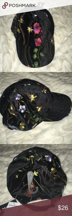 STEVE MADDEN velvet flower embroider baseball hat Brand new. Some loose strands but not that obvious-pic included. One size with adjustable strap. Steve Madden Accessories Hats