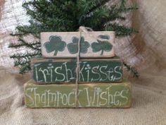 Primitive St Patricks Day Irish Kisses Shamrock Wishes Shelf Sitter Wood Blocks | eBay