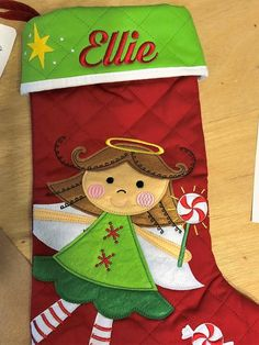 Christmas Stocking Applique QuiltedPersonalized and All Holidays, Christmas Holidays, Little Girl Backpack, Christmas Lights, Christmas Tree, Personalized Stockings, Xmas Stockings, Cotton Quilts, Holiday Decor