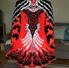 Amazing Orange Celtic Star Irish Dance Dress Solo Costume For Sale