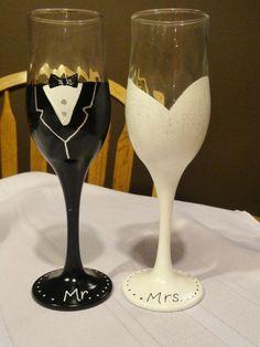 Mr. and Mrs. wine glasses, wedding glasses