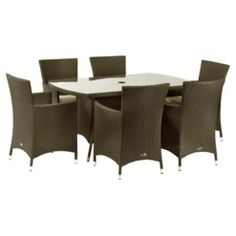 Buy Royalcraft Cannes 150cm Rect Dining Set U0026 6 Carvers   Brown From Our Garden  Furniture
