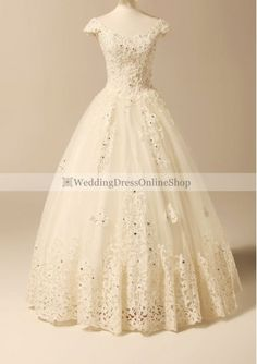 Lace Scoop Neckline Ball Gown Style with Lavish Lace Appliques Wedding Dress WD-3667