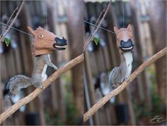 So this exists. Horse head squirrel feeder.