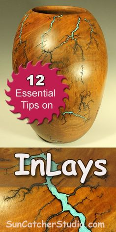 12 Essential tips on inlays. Inlays are decorative features created by embedding pieces of a different material into wood. Topics include: stones (Malachite, Magnésite, Pipe stone, Turquoise), metals, copper powders, glues, CA, binders, and epoxy.