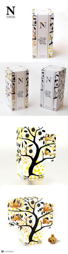 TOFFEE TREE MINI TOFFEE APPLE PIES, packaging design. Tree pattern, Narnia illustration. cr-designs.co.uk