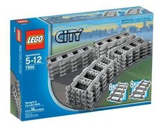 LEGO-City-Train-7896-Straight-Curved-Tracks-Rails-Power-Functions-No-Box-NEW
