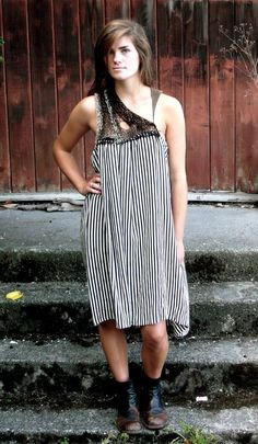 STATE Silk Striped Dress with Leather and Alpaca  www.adrienneantonson.com