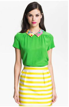 9ff40bb9cb Kate Spade yellow and white stripe Barry skirt, green top with floral  collar.