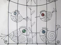 Wire Birdcage Sculpture With Birds And A Flower by MyWireArt