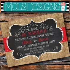 Any Color EAT DRINK Be MARRIED Merry Christmas Bridal Couples Wedding Shower Vintage Burlap Chalkboard Red Green Holiday Baby Invitation i do bbq