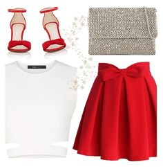 """Party Prep"" by cb-hula ❤ liked on Polyvore featuring Reiss, BCBGMAXAZRIA, Chicwish, Barneys New York, red, skirt, Clutch, party and christmas2016"