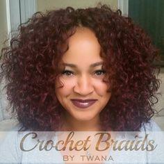 Crochet Braids with Freetress Barbadian Curl in color 99J. #crochetbraids #protectivestyles #hairext - crochetbraidsbytwana