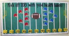 Great bulletin board for November when football season is getting started. Encourages healthy habits in students Football Bulletin Boards, Nurse Bulletin Board, Health Bulletin Boards, Office Bulletin Boards, Pta School, School Clubs, School Nursing, Sports Theme Classroom, Classroom Rules