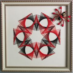 Паучок и паутинка в технике String art