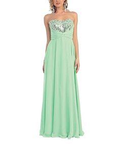 Another great find on #zulily! MayQueen Mint Chiffon Hand-Beaded Strapless Gown & Shawl by MayQueen #zulilyfinds