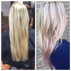 "17 Likes, 3 Comments - Xanadu Hair Salon (@hairxanadu) on Instagram: ""@heidiyoakumhair added a little pop of pink fun with this blonde highlight. #eufora…"""