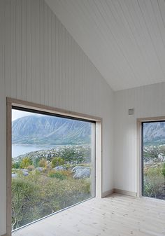 The Vega Cottage, with its simple linseed oil painted pine provides minimal decor, pares down its interior to draw attention to the distinctive landscape on this Norwegian island. By Kolman Boye Architects