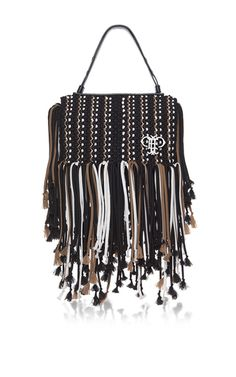 This **Emilio Pucci** Black fringed bag is rendered in polyester and features an interior zip pocket and a top handle.