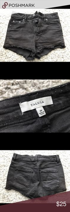 Aritzia Talula - Distressed Black Shorts, Size 26 Aritzia Talula Distressed Black Denim Shorts in Size 26. Perfect for the summer, in a great condition. Aritzia Shorts Jean Shorts